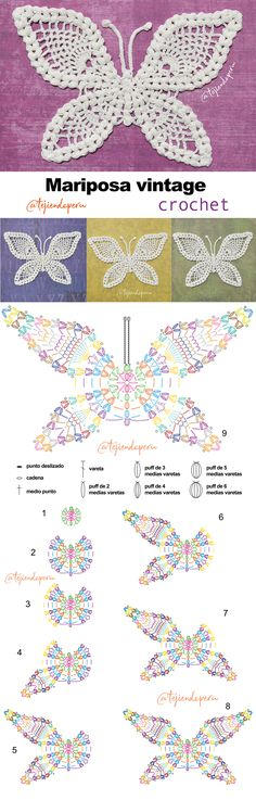 Tapete o carpeta MARIPOSA vintage tejida a crochet. Paso a paso en video tutorial :)