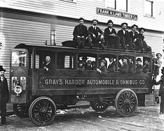photo dated 1902 steam powered bus from Hoquiam,Washington State.