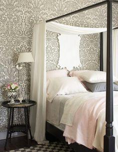 Grey Damask-Wallpapered Bedroom   via Damask and Design Blog   House & Home