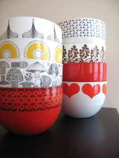 Solid red. Kaj Franck retro mod enamel bowl, Arabia Finland. Great vintage condition.. $36.00, via Etsy.