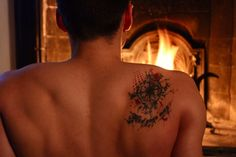 Compass trashpolka tattoo on my back. Quote: Find your way. #compass #tattoo #trashpolka #back #fire #muscles #ink