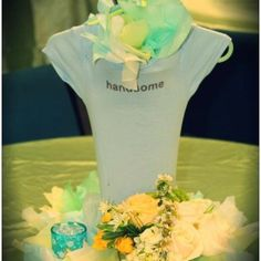 Onesie Centerpieces - Thought this was cute
