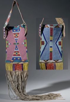 Cумочка для зеркала, Кроу. Размеры: 84.5 х 22 Х 4.3 см. Монтана. Crow Indian Reservation. Дата 1907 год. Донор  Dr. Robert H. Lowie. AMNH.