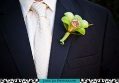0253 300x210 Grooms boutonniere green orchid