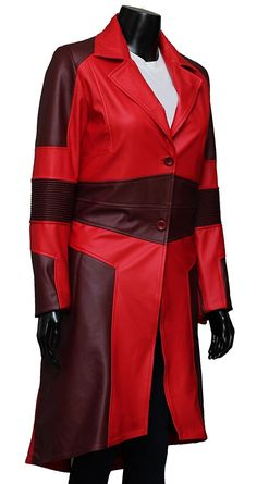 3f98cc01393 Captain America Civil War Scarlet Witch Red Leather Coat at Amazon Women's  Coats Shop