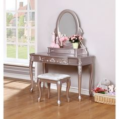 3 pc Wildon home caroline metallic lilac finish wood bedroom make up vanity sitting table set with mirror. This set features an oval mirror , bench and vanity. Vanity measures x x , Mirror measures x x H. Make Up Desk Vanity, Vanity Stool, Wood Vanity, Painted Vanity, Vanity Tables, Vanity Drawers, Wood Bedroom, Bedroom Decor, Bedroom Bed
