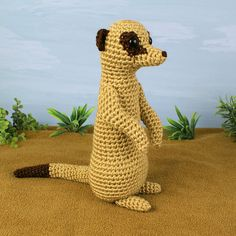 ***Please note that I sell PDF crochet patterns (see Delivery Information below), NOT completed items! As such, all sales are FINAL.*** An original crochet amigurumi Meerkat pattern by June Gilbank. Meerkats live in southern Africa and are related to mongooses. They live in clans of about 20 in large underground burrows. They primarily eat insects but also munch on scorpions (they bite off the poisonous sting first). One meerkat always stands guard to look for danger such as eagles and ...