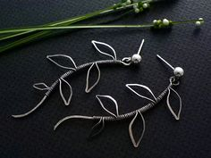 Leafy branches, made with sterling silver wire