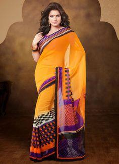Orange Georgette Casual Wear Saree Shop Now : http://www.cfashionbazaar.com/