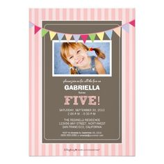 Chic Turning 5 Birthday Party Invitation (pink)