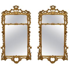 Beautiful Pair of English George III Gilt Mirrors with Pediment Tops   From a unique collection of antique and modern wall mirrors at https://www.1stdibs.com/furniture/mirrors/wall-mirrors/
