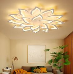 This Lotus Ceiling Light is something totally different and unique! This ceiling light will add a very modern and contemporary touch to any living room or bedroom. The lamps are made of Aluminum Alloy with an integrated LED light strip. You can choose bet Fall Ceiling Designs Bedroom, House Ceiling Design, Ceiling Design Living Room, Bedroom False Ceiling Design, Home Ceiling, Ceiling Decor, Living Room Lighting, Living Room Designs, Living Room Decor