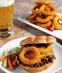 Barbecue Beef Sandwiches with Onion Rings and Cheese - Delicious Diner-Style from your Slow Cooker!