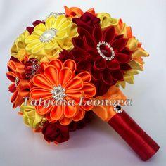 Ramo de la boda de tela broche ramo rojo amarillo naranja por LIKKO