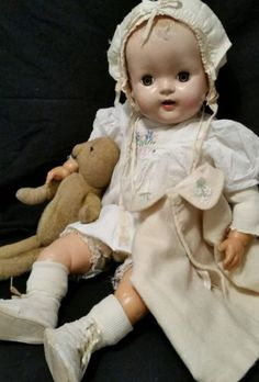 24-Vintage-Mama-Baby-doll-1940swith-teeth-Great-antique-clothing-with-old-bear