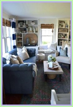 New living room dark blue couch decor ideas Blue Couch Living Room, Living Room Colors, Living Room Grey, Small Living Rooms, Home Living Room, Modern Living, Dark Blue Couch, Blue Couches, Dark Sofa