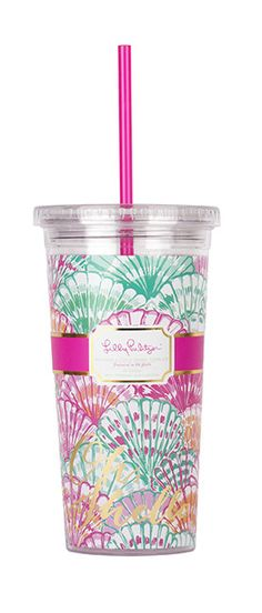 Lilly Pulitzer Tumbler with Straw- Oh Shello from Shop Southern Roots TX