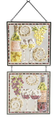 Features:  -Set includes 2 wall decors.  -Hand painted glass square panels.  -Designer: Vero.  -Comes with chain.  -Mosaic design in wine themes.  -2 Panels connected by chain and hang from chain at t