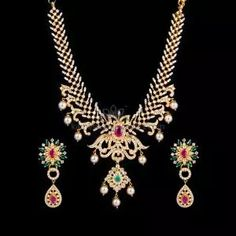 Buy Necklaces Online   Kanti Carved With CZ Pachi Pendant from Kameswari Jewellers Bold Necklace, Simple Necklace, Gold Bar Earrings, Gold Jewelry Simple, Antique Necklace, Gold Jewellery Design, Necklace Online, Necklace Designs