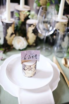 DIY gold leaf branch centerpiece - Table Settings