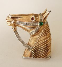Crown Trifari Horse Head Brooch Rhinestone Pin by JoolsGalore