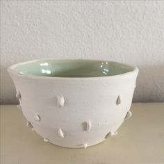 Little porselain bowl, handmade, celadon inside, personal work