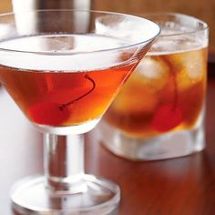 Full-bodied bourbon, vermouth, and a dash of bitters are shaken and strained into a chilled glass for one seriously sophisticated classic cocktail: http://www.bhg.com/recipes/drinks/wine-cocktails/classic-cocktail-recipes/?socsrc=bhgpin122813manhattan&page=10