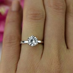 1.5 ct 6 Prong Solitaire Engagement Ring 7mm Round Man Made | Etsy Round Solitaire Engagement Ring, Cushion Cut Engagement Ring, Princess Cut Engagement Rings, Beautiful Engagement Rings, Diamond Wedding Rings, Bridal Rings, Diamond Rings, Solitaire Diamond, Solitaire Rings