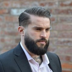 Combover with Accurate Side Part and Facial Hairstyle