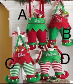 Elf Stocking Personalized Elf Stockings, Elf Pants, Christmas Stockings by JandBCustomDesign on Etsy Noel Christmas, Handmade Christmas, Christmas Ornaments, Christmas Projects, Holiday Crafts, Embroidered Christmas Stockings, Stocking Pattern, 242, Personalized Stockings