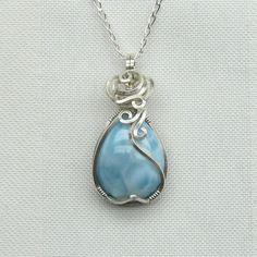 Larimar Necklace - Blue Larimar Pendant - Larimar Jewelry - Blue - Larimar