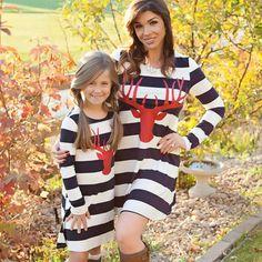 Mother And Daughter Christmas Elk Print Wide Stripe Long Sleeves
