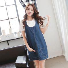 Denim dress women summer 2015 Korean style casual loose blue jeans pocket overall rompers dress Jeans dress D94