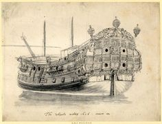 The 'Woolwich' from the port quarter. 1676 Grey wash over an offset (?) from a black chalk drawing