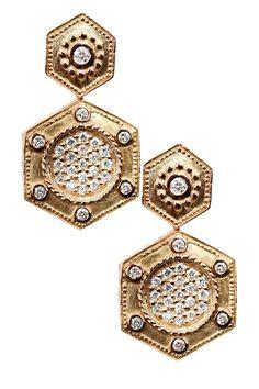 Charriol  18K Yellow Gold Diamond Double Hexagon Drop Earrings - 0.42 ctw