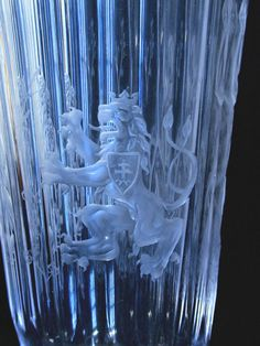 "Art Deco ""Adam & Eve"" Engraved Glass Vase from Czech Republic"