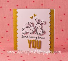 Lawn Fawn - Happy Easter, My Silly Valentine, Cole's ABCs, Stitched Scalloped Borders, Stitched Journaling Card (die cut heart) _  totally adorable Bunny Love card by Elise C. via Flickr - Photo Sharing!