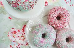 I never thought of this before--buying plain cake donuts and making your own icing (powdered sugar + milk + gel coloring) and using your own sprinkles to match any color scheme.