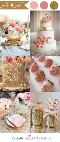 pink and gold wedding color ideas for 2017 #weddingthemes Pink Wedding Colors, Pink And Gold Wedding, Blush And Gold, Wedding Flowers, Blush Pink, Wedding Blush, Rose Wedding, White Bridal, Wedding Bouquets