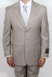 Men's Three Button Tan Suit