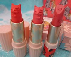 Love these cat cream blushes and lipsticks, by Paul & Joe Cosmetics.