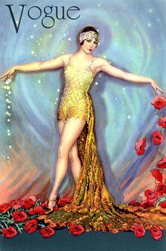 Vogue Art Deco Fashion - Lady in Gold, California Poppies Poster Vintage Dior, Vintage Vogue, Vintage Art, Vintage Beauty, Vintage Paper, Unique Vintage, Vintage Images, Vintage Posters, Art Posters