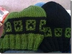 Minecraft Creeper hat knitting chart - free. For Connor.