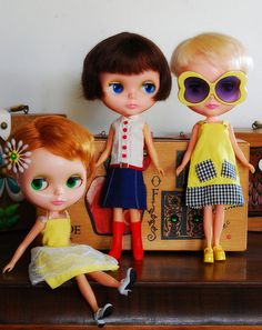 Blythe in vintage    My Skipper had that yellow dress in the 60's.