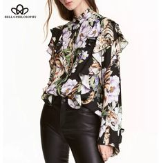 Bella Philosophy 2017 spring summer  European print ruffles long sleeve chiffon blouse shirt