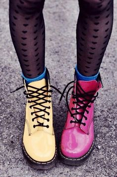 I love this idea! Pair one of each of two brightly colored Docs for a fun and cheeky look Vintage Doc Martens, Doc Martens, Doc Marten style boots Dr. Martens, Doc Martens Boots, Pretty Shoes, Cute Shoes, Me Too Shoes, Funky Shoes, New Shoes, Colorful Shoes, Shoes Uk