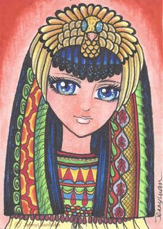 ACEO Original  zentangle anime queen of Egypt Clepatra drawing by Jenny Luan #Miniature