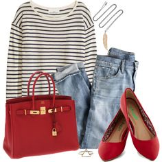 Have I mentioned I love red?...and stripes?...and denim?...