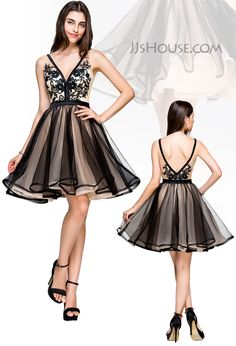 V neck and V back, don't hesitate to put on this A-Line short tulle dress and be charming. #JJsHouse