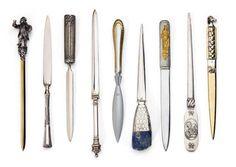 一位收藏家收藏的18世纪末到20世纪初的古董拆信刀合照